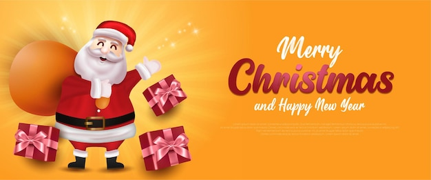 Merry christmas sale banner with santa claus and gift box template greeting card on yellow background