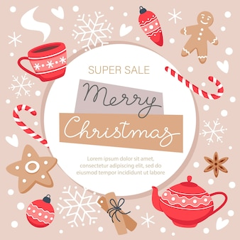 Merry christmas sale banner with snowflakes, gingerbread cookies, sweets and a hot drink