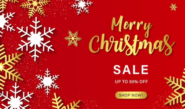 Merry christmas sale banner with snowflakes.promotion or shopping template for christmas.