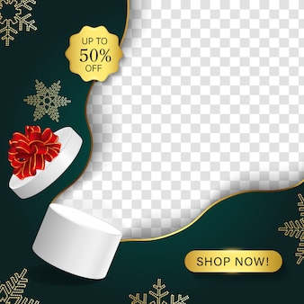 눈송이와 메리 크리스마스 판매 배너입니다.