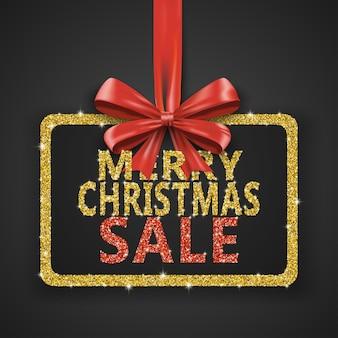 С рождеством христовым дизайн шаблона карты рождественский плакат с золотым блеском и красным бантом из лент