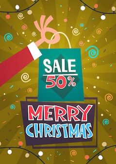 Merry christmas sale discount seasonal promotion happy new year winter holiday presents shopping concept