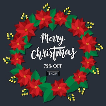 Merry christmas sale discount tag poster wreath design