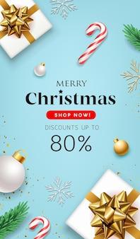메리 크리스마스 판매 선물 상자 골드 리본 소나무 잎과 금 공 전단지 포스터 컨셉 디자인