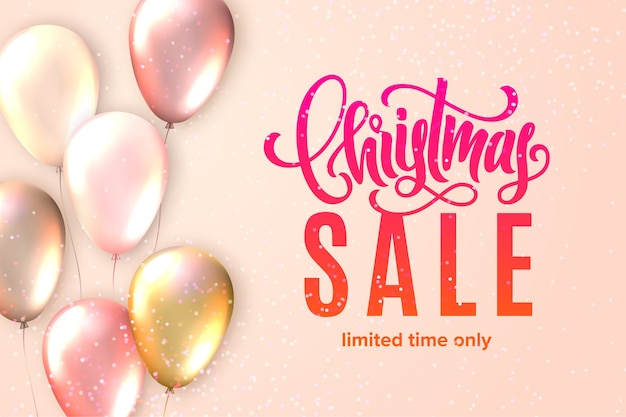 Merry christmas sale. lettering card with realistic glossy flying balloons and sparkling confetti