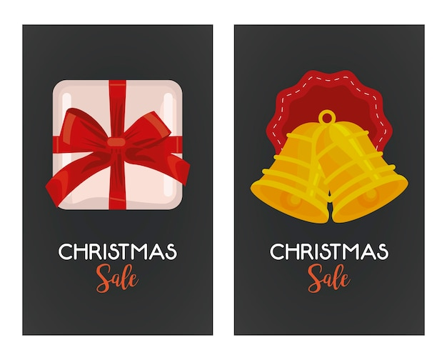 Merry christmas sale lettering with bells hanging and gift  illustration