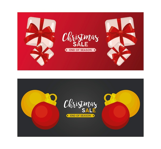 Merry christmas sale lettering with gifts and balls  illustration