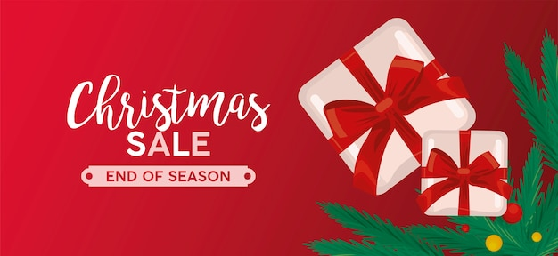 Merry christmas sale lettering with gifts and leafs  illustration
