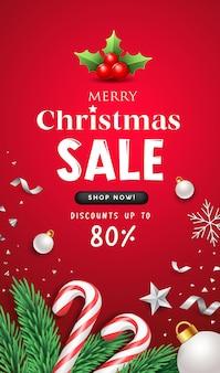 С рождеством христовым распродажа сообщение с концептуальным дизайном плаката флаера персонала санта-клауса на красном фоне