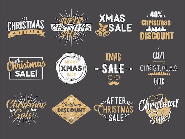 С рождеством христовым распродажа накладки. новогодние скидки котировки установлены. смешные рождественские искусства типографии. актуальные цвета. фондовый вектор иллюстрация, изолированные на темном фоне.