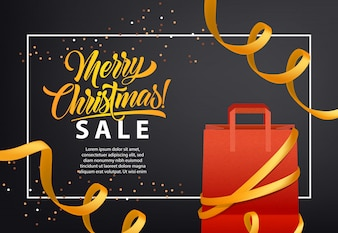 Merry Christmas, Sale poster design. Shopping bag