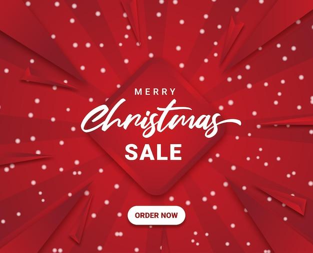 Веселые рождественские продажи социальных медиа живодер снег красный санберст абстрактные векторные