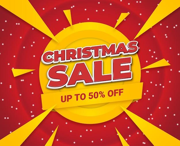 Веселые рождественские продажи социальных медиа живодер снег желтый красный абстрактные векторные