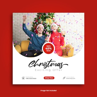 Merry christmas sale social media post design or instagram post template
