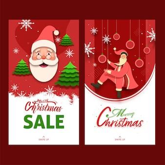 С рождеством христовым распродажа шаблон или дизайн флаера с мультяшным санта-клаусом в двух вариантах