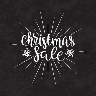 Merry christmas sale text calligraphic lettering design card template.