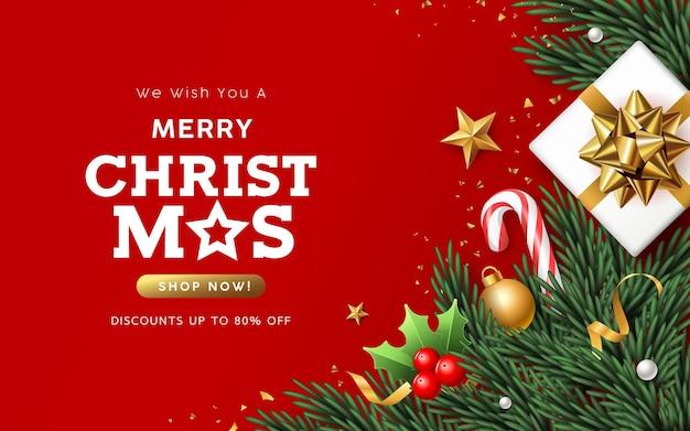 С рождеством христовым распродажа белая подарочная коробка с сосновыми листьями санта-клауса и золотыми лентами баннер