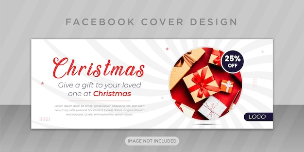 Merry christmas sale with facebook cover design