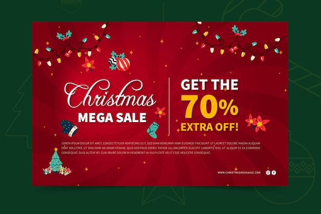 Merry christmas sales banner web template