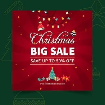 메리 크리스마스 판매 광장 전단지 서식 파일