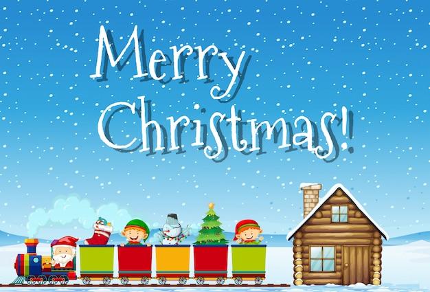 메리 크리스마스 산타와 기차 개념