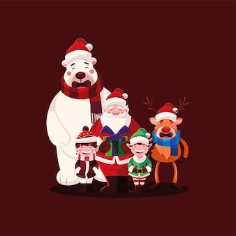 Счастливого рождества санта-медведь мальчик эльф и северный олень, зимний сезон и тема украшения Premium векторы