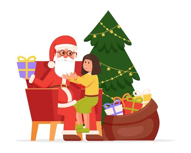 С рождеством христовым санта-клаус и ребенок