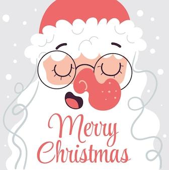 メリークリスマスサンタクロースと新年あけましておめでとうございますおめでとうカードフラット漫画イラスト