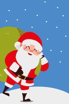 Счастливого рождества санта-клаус сумка для переноски празднование украшения иллюстрация