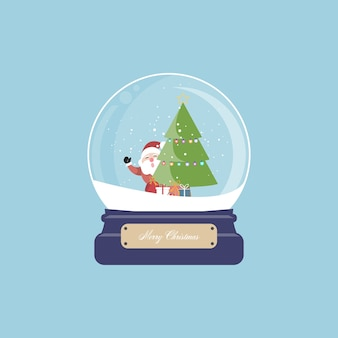 Merry christmas santa claus and christmas tree with gift in snow globe.