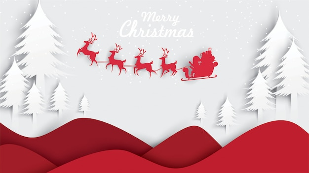 Merry christmas santa claus digital craft style