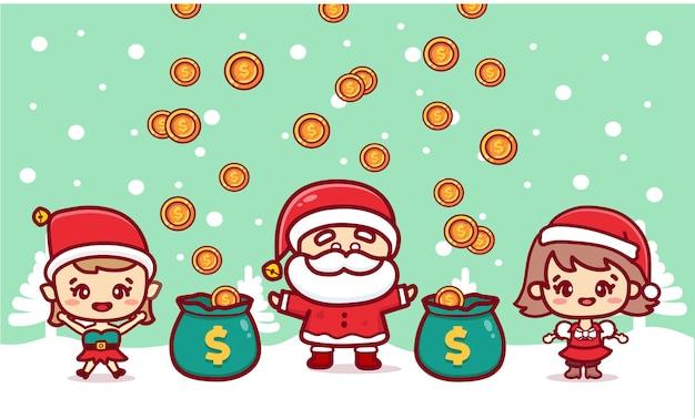 Merry christmas santa claus and friends earning money. cartoon vector banner
