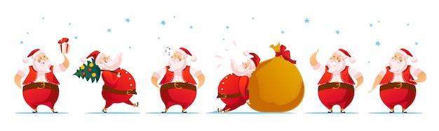 С рождеством христовым санта-клаус забавный персонаж портретный набор иллюстрации