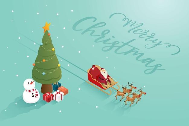 トナカイの雪だるまのクリスマスツリーとメリークリスマスサンタクロースの祖父