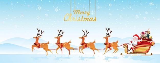 Merry christmas santa claus is rides reindeer sleigh