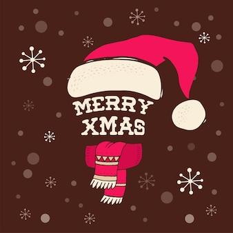 メリークリスマス-サンタクロースのニット帽。レタリングのグリーティングカード