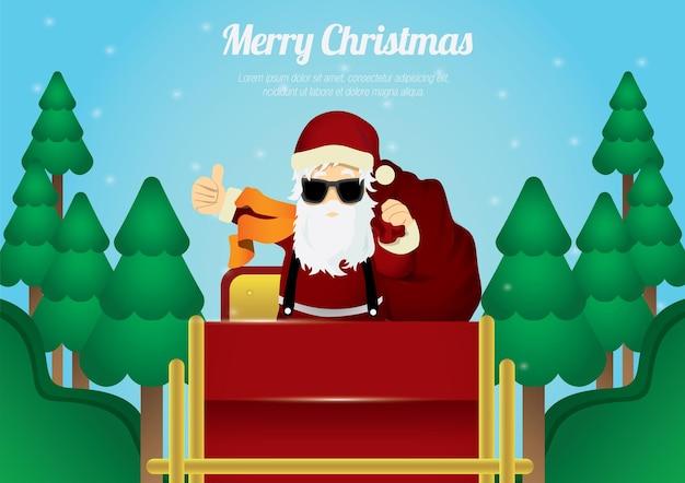 С рождеством христовым санта-клаус, как палец вверх