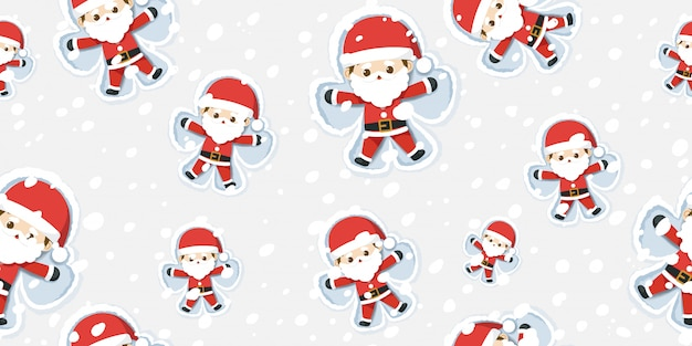 Merry christmas, santa claus making snow angel pattern.