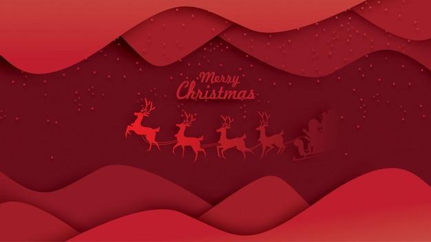 순 록 썰매와 하늘에 메리 크리스마스 산타 클로스
