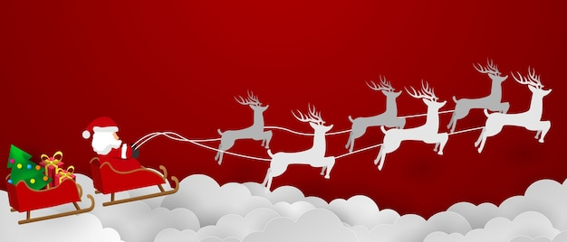 메리 크리스마스. 하늘에 산타 클로스입니다.
