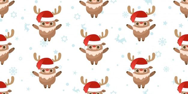 메리 크리스마스, 산타 클로스 순 록 완벽 한 패턴입니다.