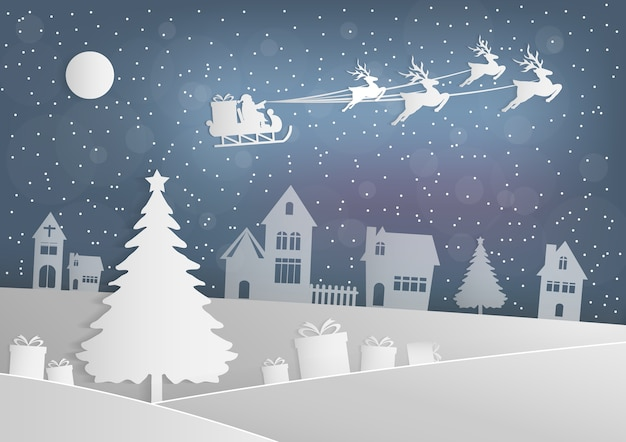 Merry christmas  santa claus reindeer on the sky coming