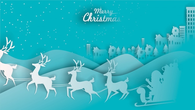 메리 크리스마스 산타 클로스 순록 썰매