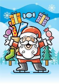 С рождеством христовым санта-клаус с подарочной коробкой и конфетами векторная иллюстрация изолировала зимний пейзаж