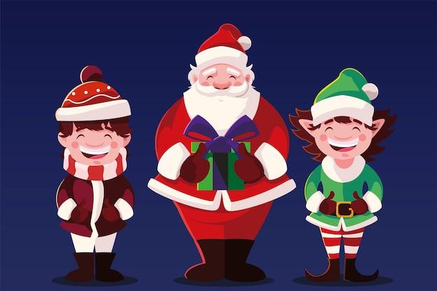 Счастливого рождества санта-клаус с помощником и иллюстрацией маленького мальчика