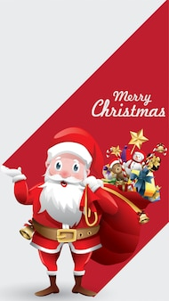 Merry christmas santa claus with huge red bag with presents