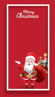 Merry christmas santa claus with huge red bag