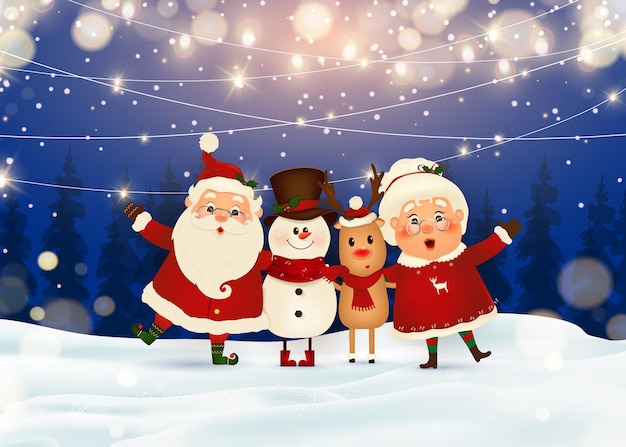 Merry christmas. santa claus with mrs. claus, reindeer, snowman  in christmas snow scene winter landscape.