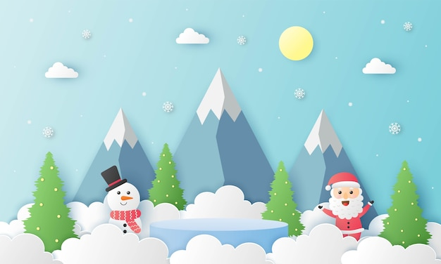 Merry christmas santa clause and snowman with geometry shape podium christmas theme paper cut card blue background product stand presentation with minimal style