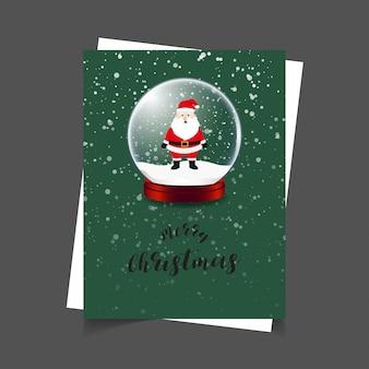 메리 크리스마스 산타 녹색 배경